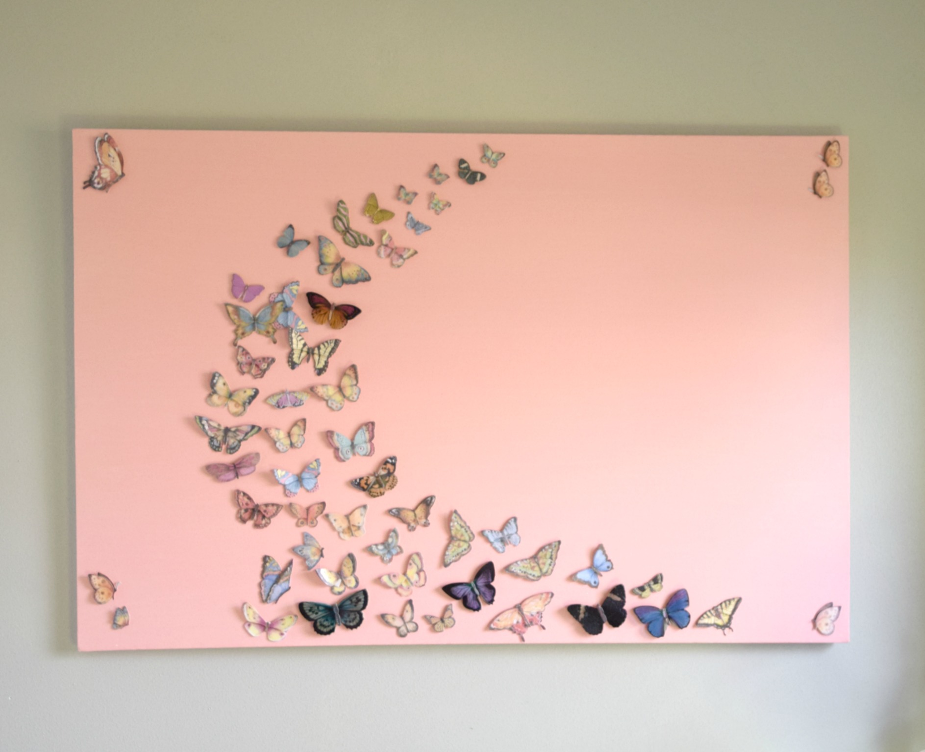 Girl bedroom wall art, a butterfly and canvas craft
