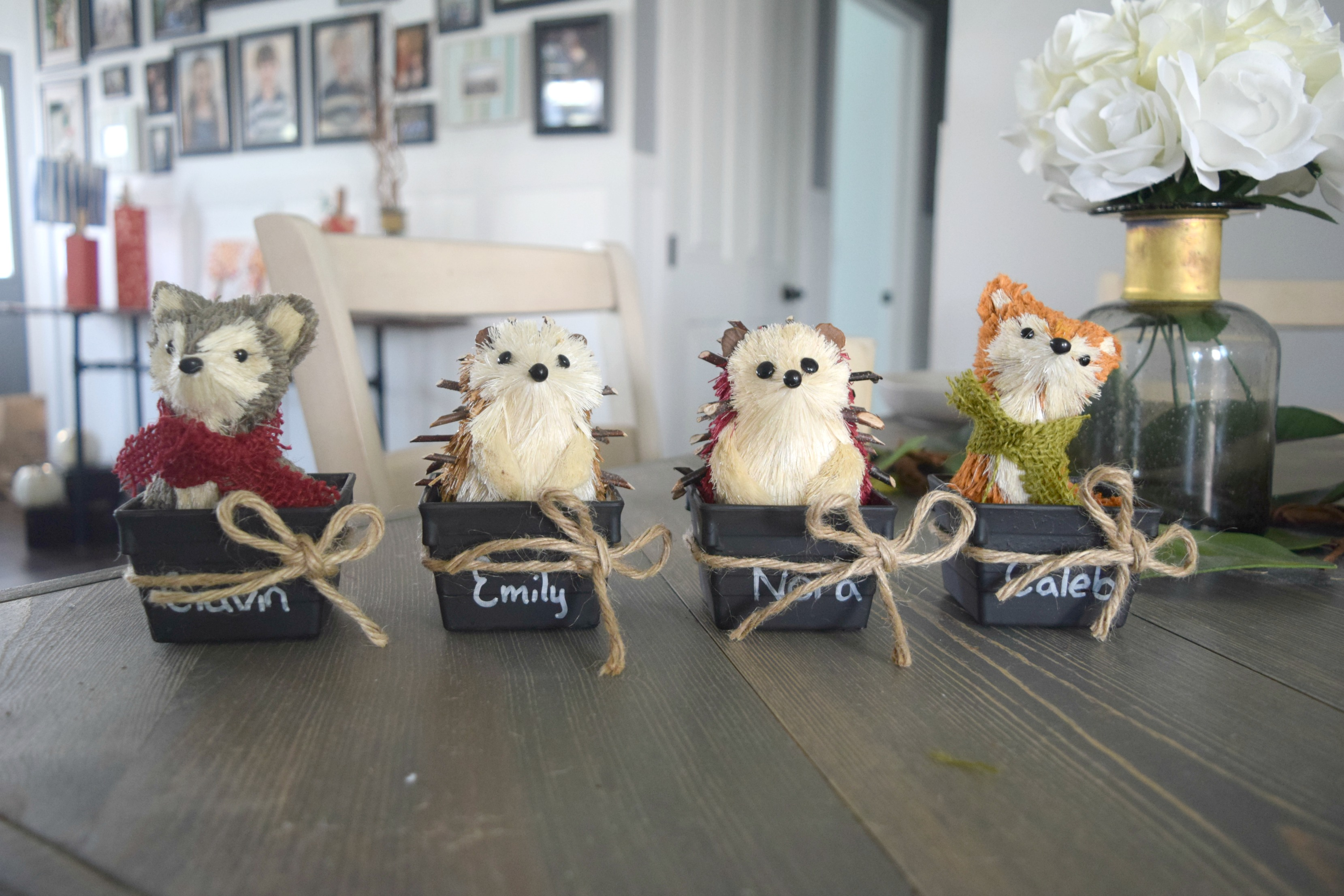 fall decor with woodland creatures
