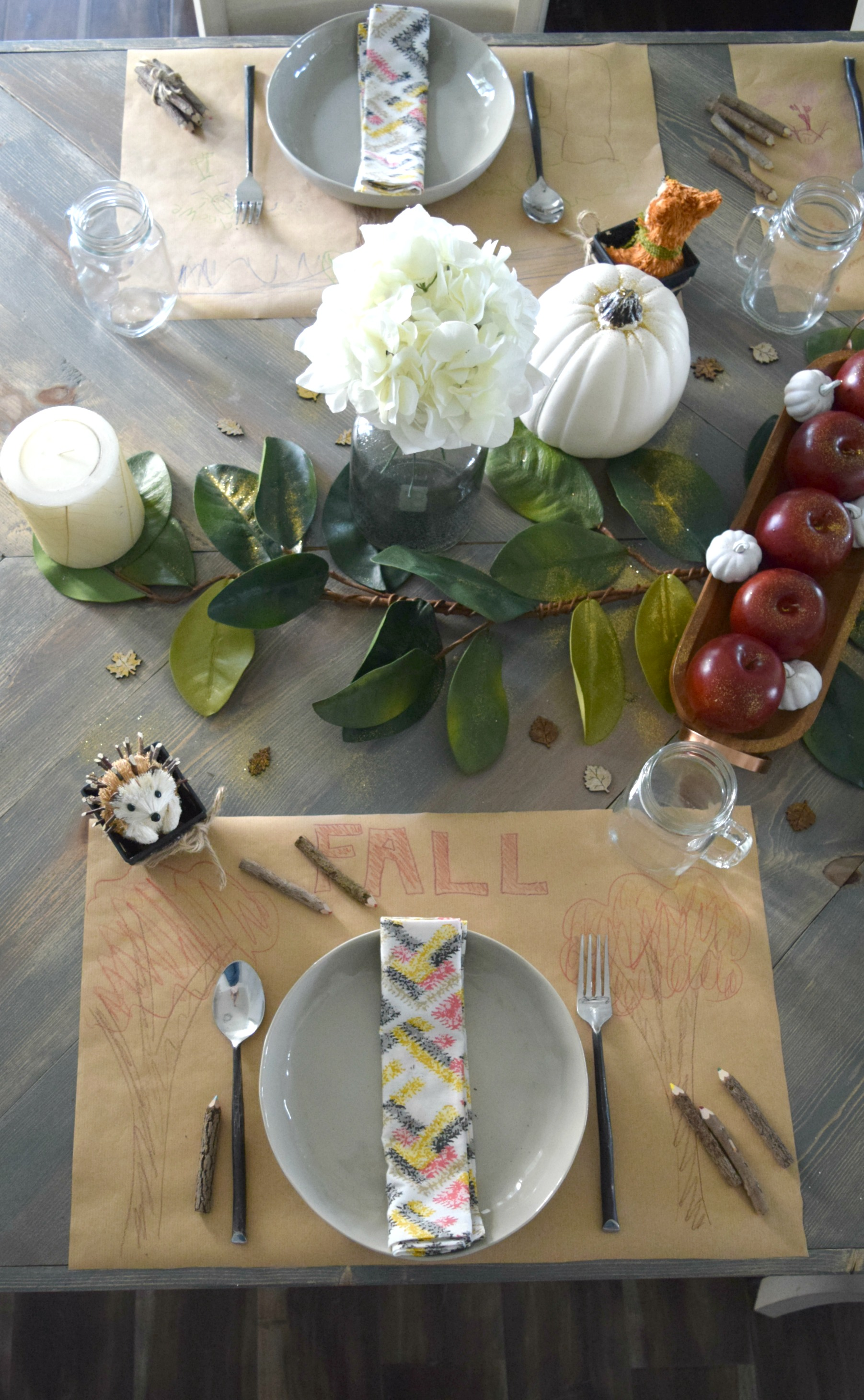 fall kids themed tablescape