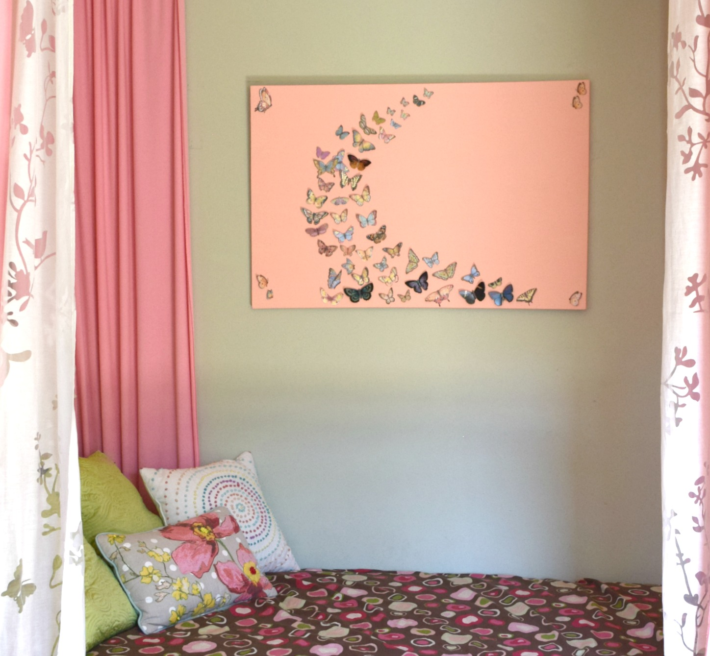 Girl bedroom wall art a butterfly and canvas craft our house girl bedroom wall art ideas amipublicfo Image collections