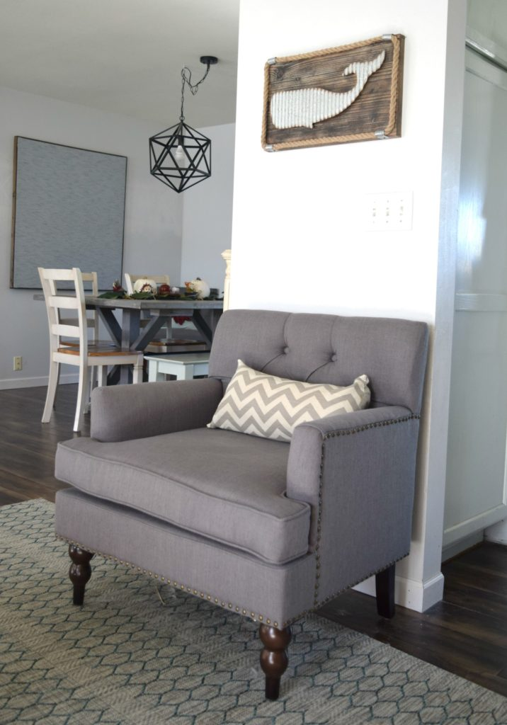 dark gray armchair