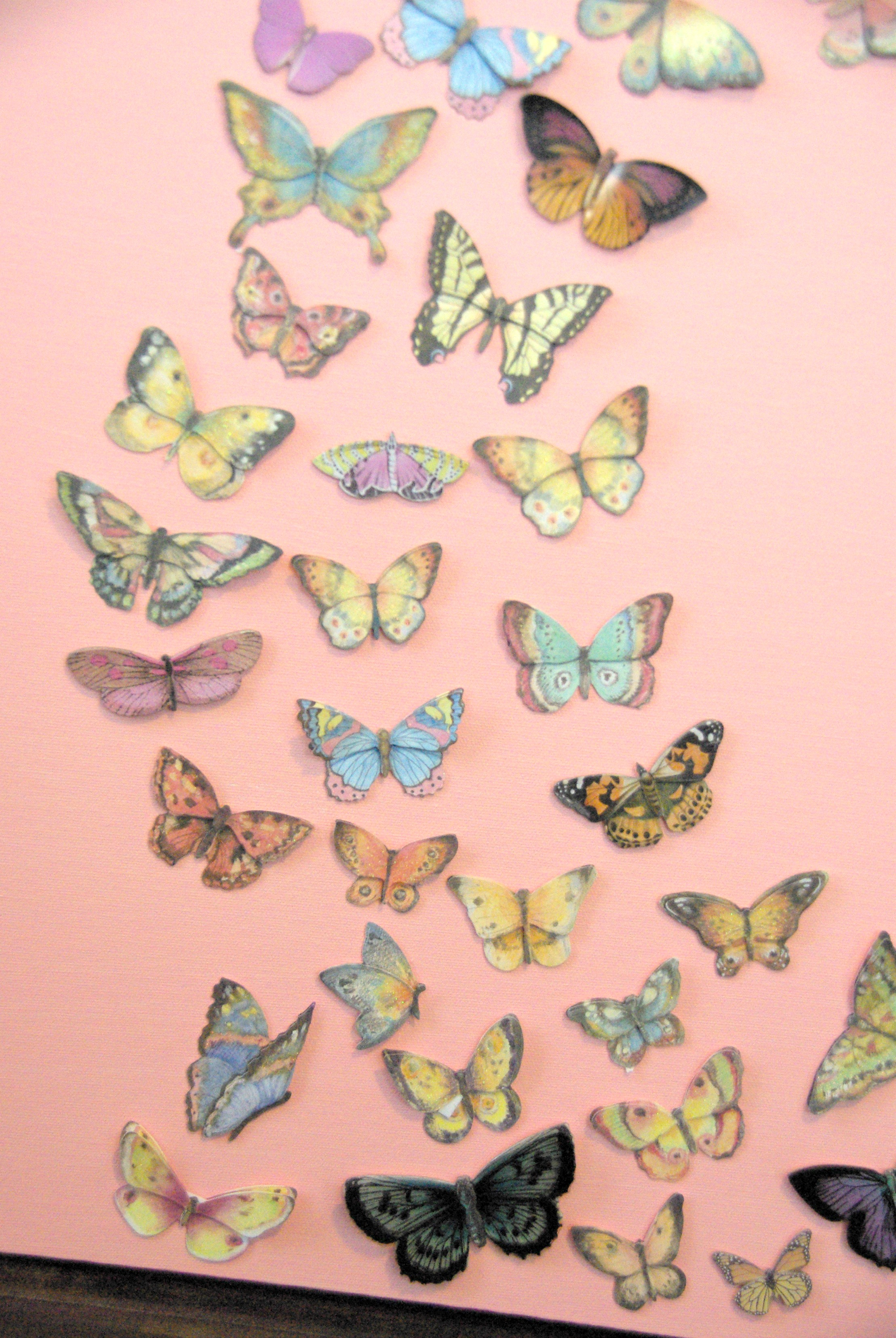 Girl bedroom wall art a butterfly and canvas craft our for Butterfly mural ideas