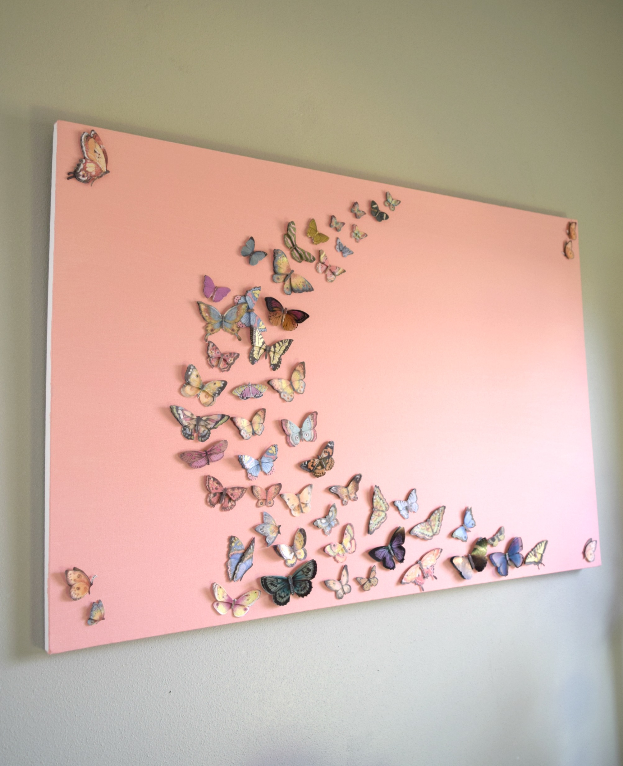 Girl Bedroom Wall Art, A Butterfly And Canvas Craft • Our