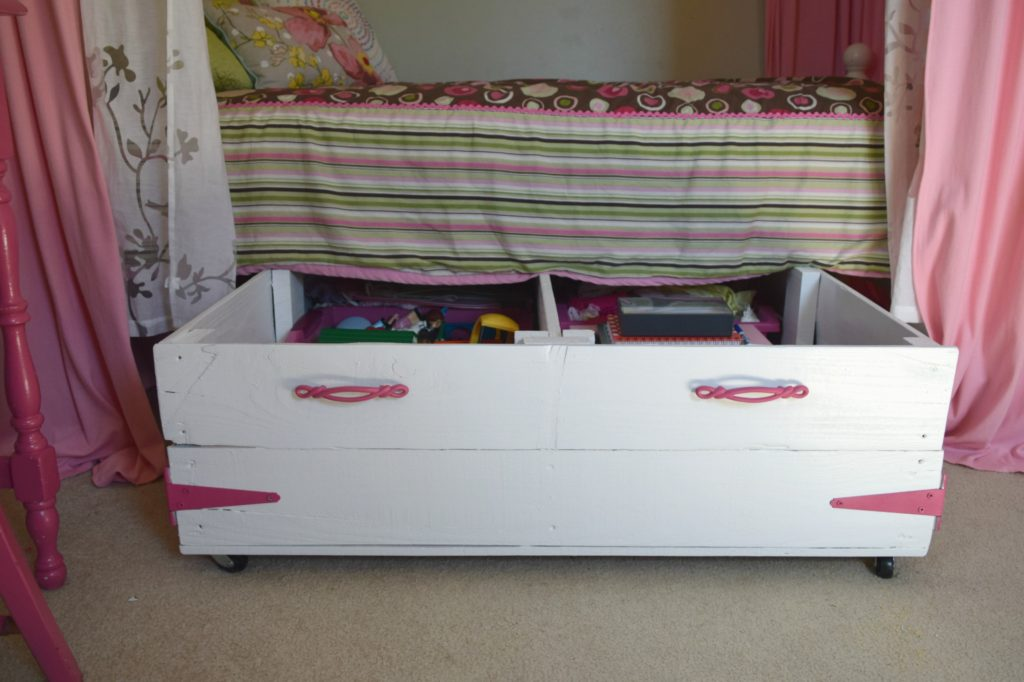 Diy wood pallet under bed toy storage our house now a home - Diy under bed storage ideas ...
