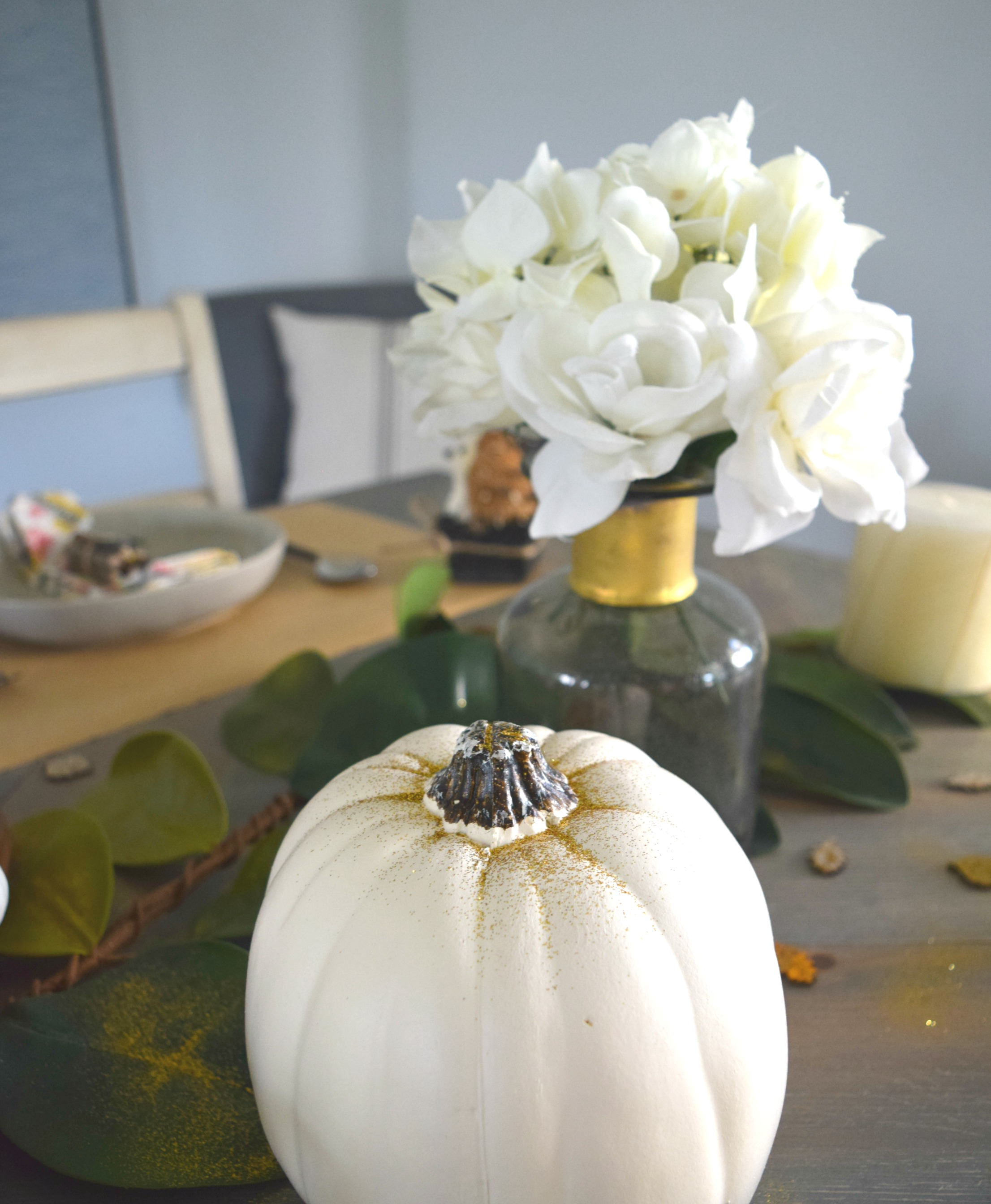 using white pumpkins as decor