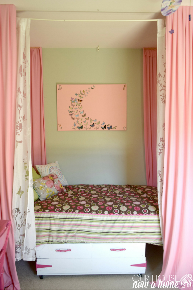 Girl bedroom wall art, a butterfly and canvas craft • Our ...