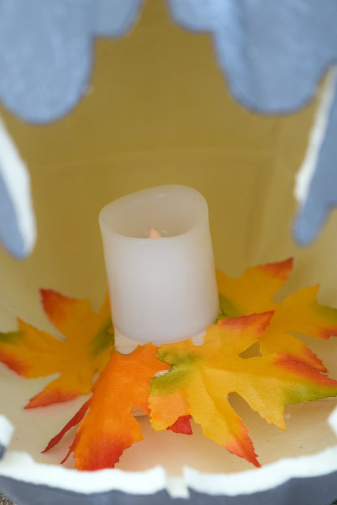 adding leaves for fall decor