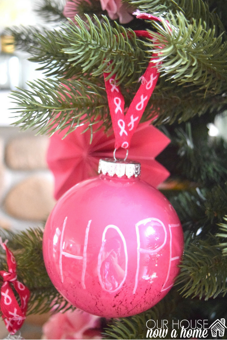 Breast cancer ornament - Hope For Breast Cancer