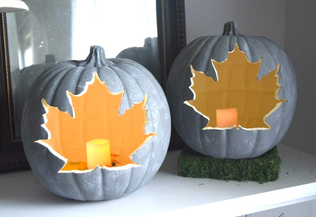 leaf cut out pumpkin craft with candle