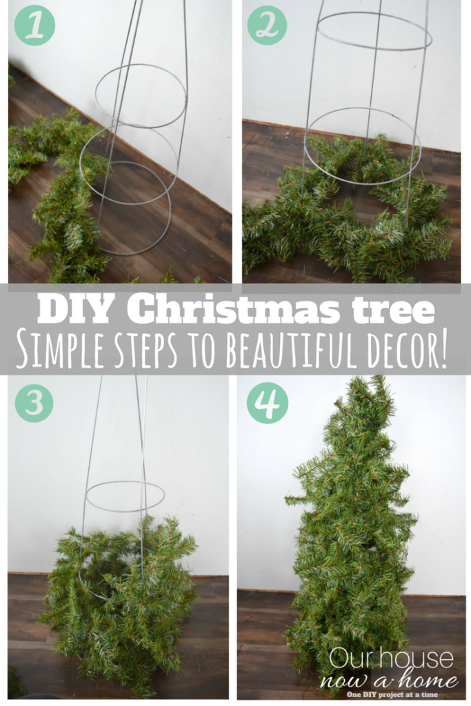DIY Christmas tree craft using tomato cage