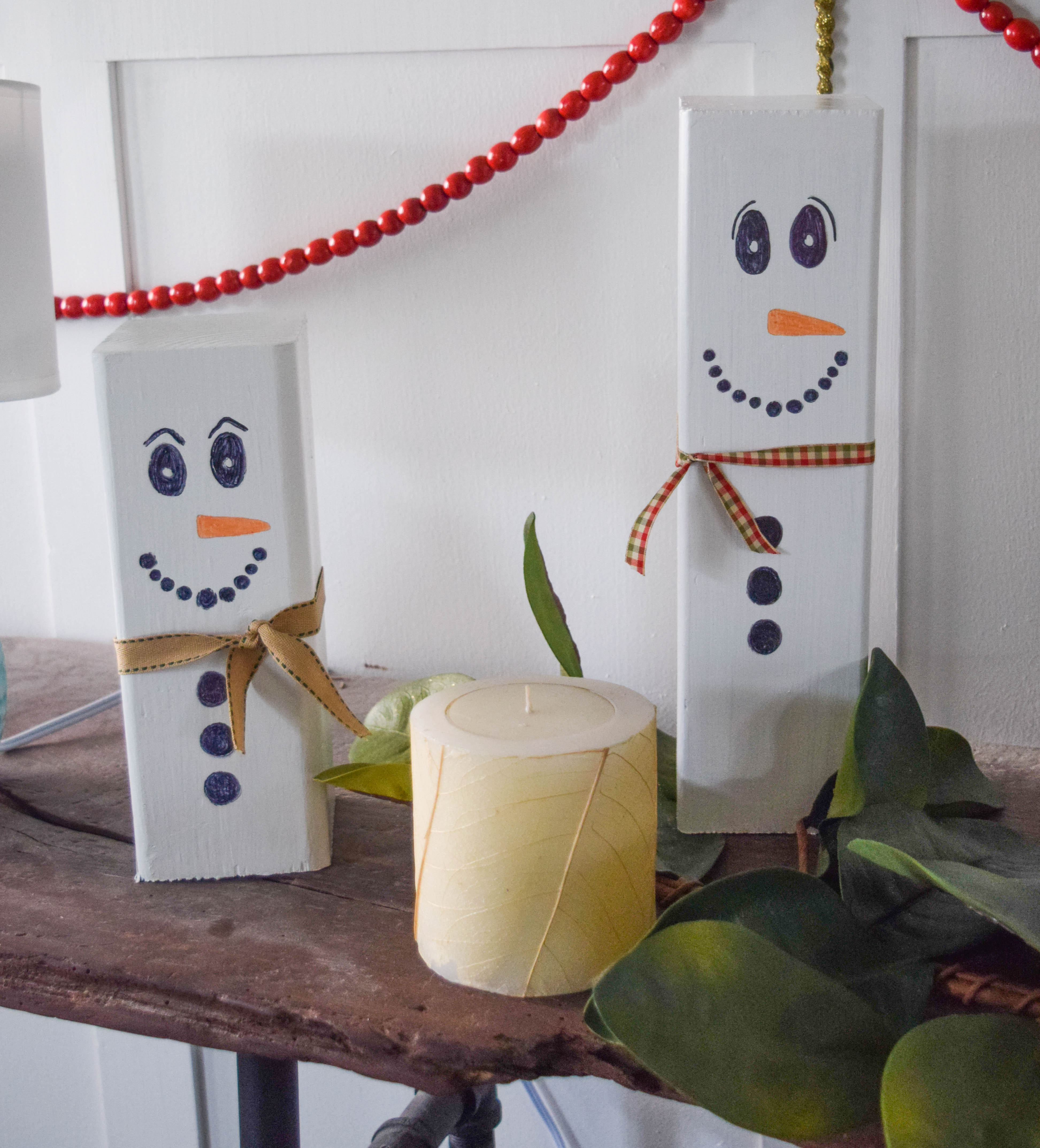 Wooden Snowman Craft, Easy Christmas Decoration Idea • Our