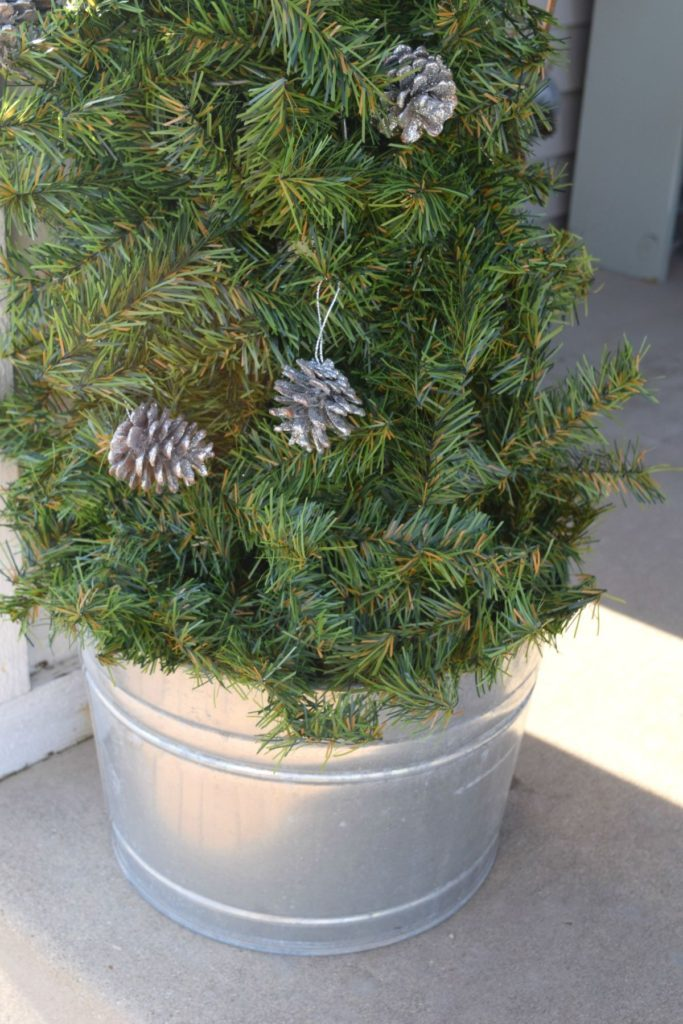 topiary in bucket for a rustic Christmas decor