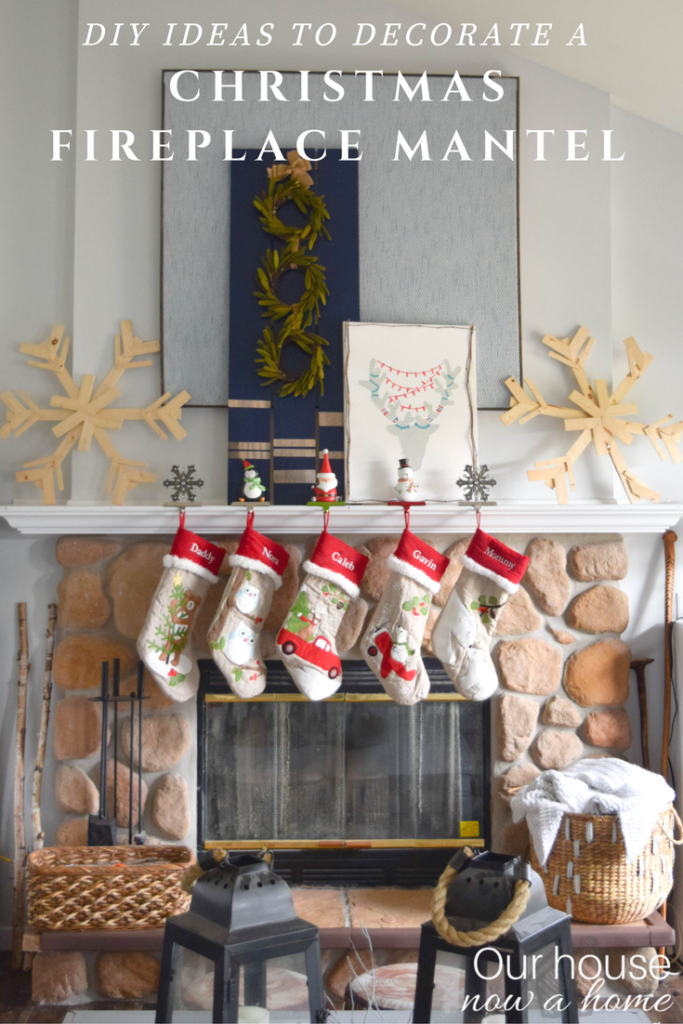 Simple and low cost DIY ideas to decorate a fireplace mantel for Christmas!
