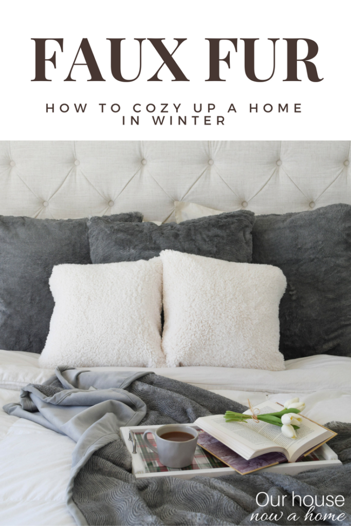 faux fur pottery barn blankets and pillows, love the simple ideas to decorate!