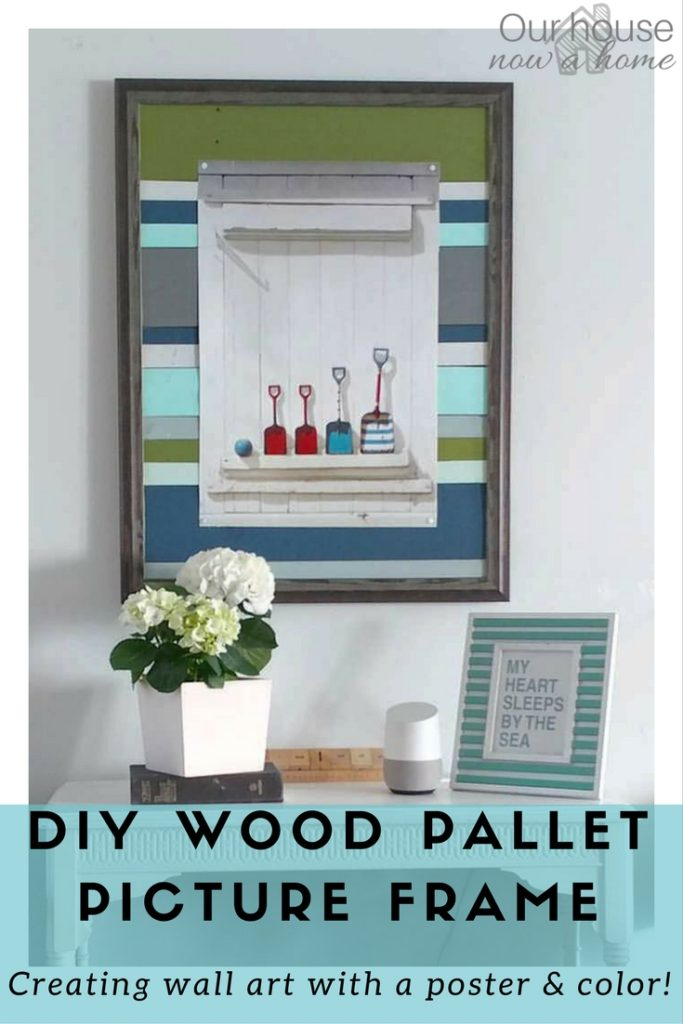 DIY wood pallet frame, rescuing a broken wall art and creating a new frame for the coastal style art!