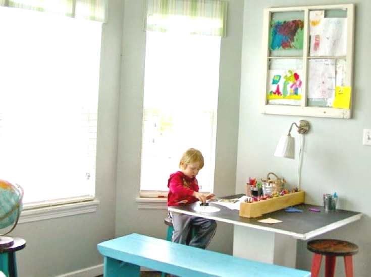 Kids art table in playroom, DIY. How to make a family home.