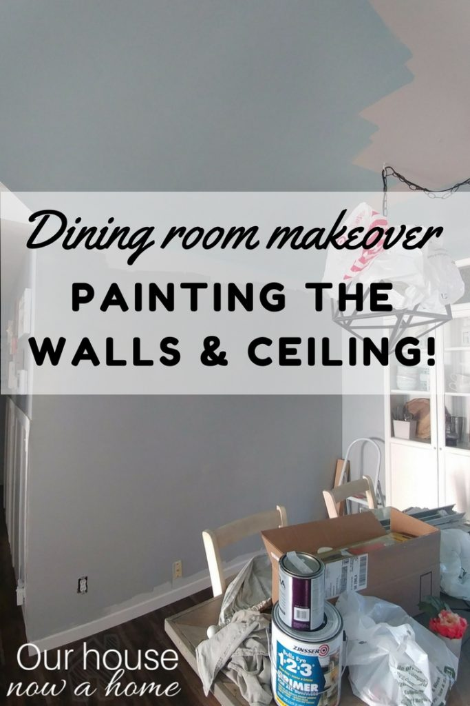 Dining room makeover with blue painted ceiling and gray walls. Simple and clean look to this coastal style dining room!