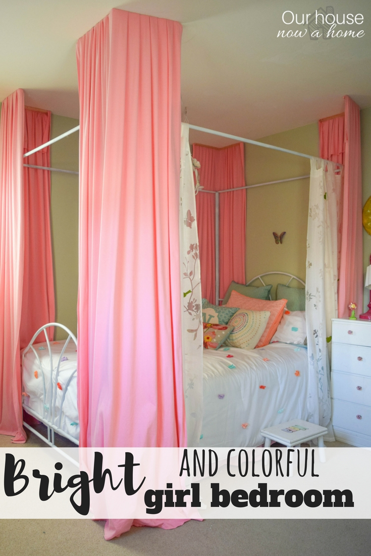 Bright colorful girl bedroom small changes with a big - Low cost bedroom decorating ideas ...
