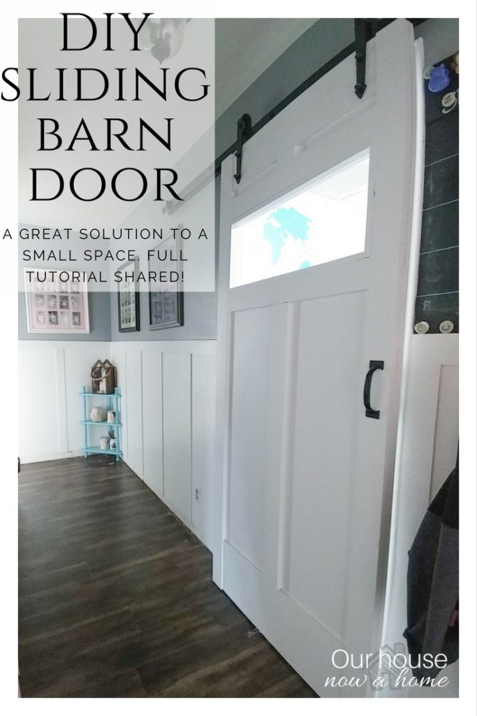 DIY sliding barn door, easy steps to create the look. Great solution to a small space in your home, adding function and style.