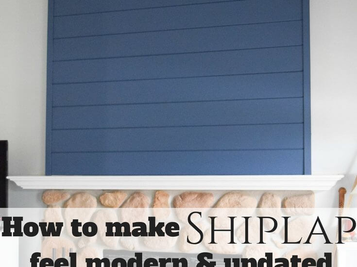 How to make shiplap feel modern and updated with this feature wall on the fireplace.