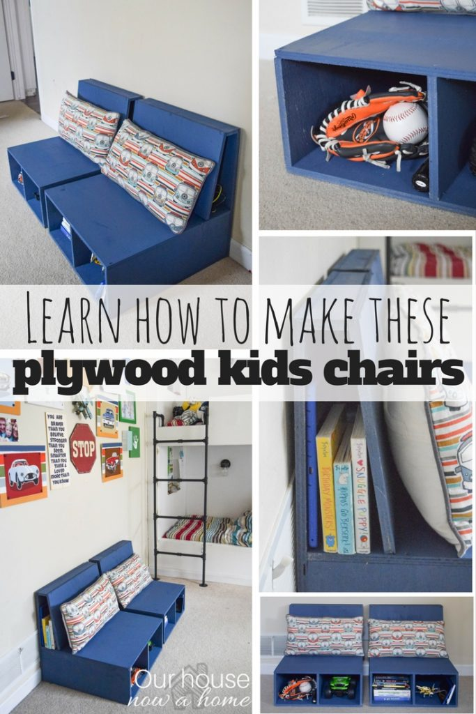 Do It Yourself Home Design: Easy Steps To Make DIY Plywood Kids Chairs With Storage
