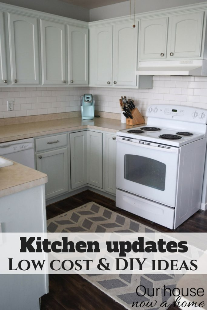 Low cost kitchen updates and solutions for a small kitchen. DIY projects, easy updates create a new look for the kitchen.