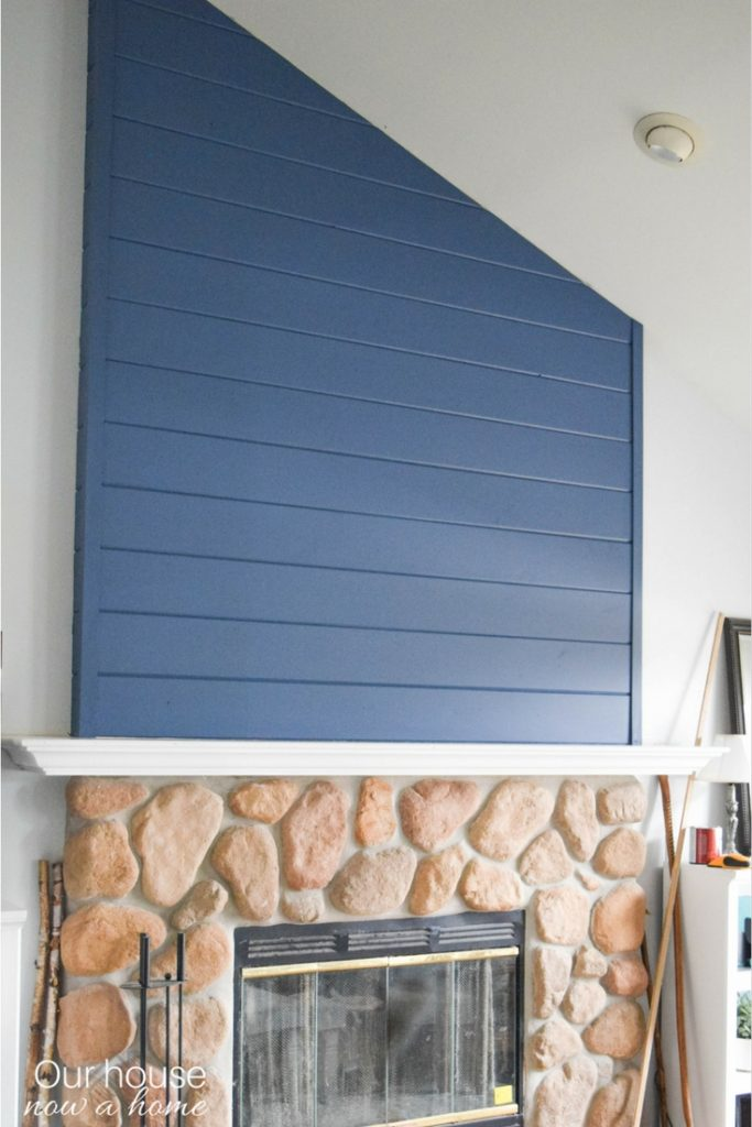 Navy blue wood plank feature wall - How to add to a angled and vaulted ceiling. Simple step-by-step tutorial