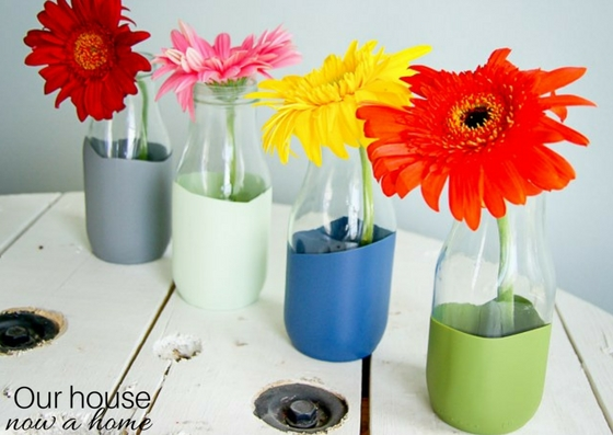 Paint dipped glass coffee drink upcycle – creating a pretty vase