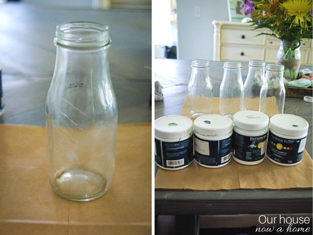 Starbucks glass coffee drink upcycle. Don't throw those glass away! Paint dipped containers become beautiful vases, simple and easy craft with step by step instructions.