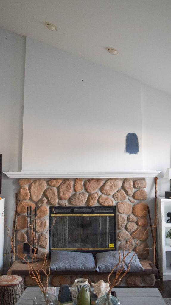 adding wood plank feature wall to fireplace, before picture