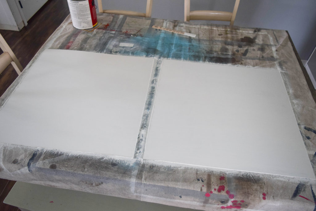 backing for pictures painted white