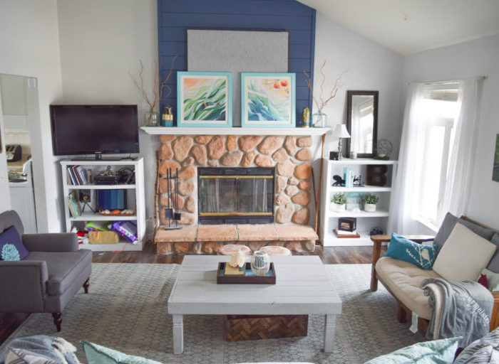 How to create a fireplace wood feature wall – A modern Shiplap style