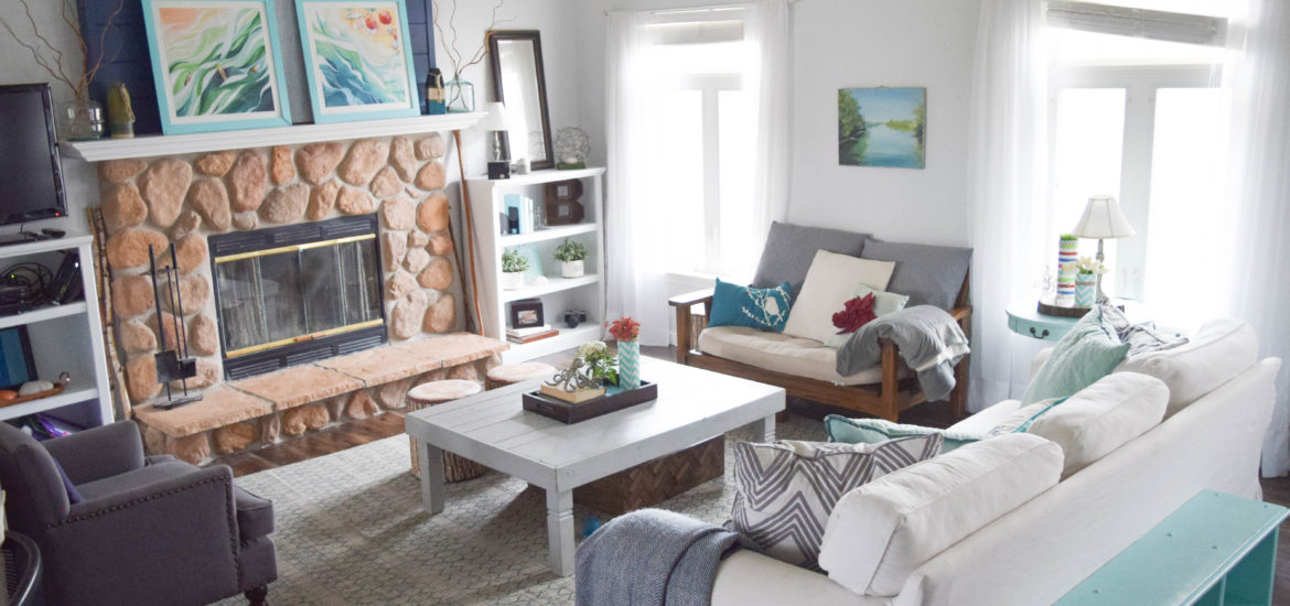 california casual style living room with shiplap wall