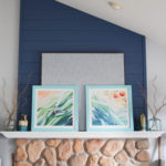 A coastal inspired spring fireplace mantel