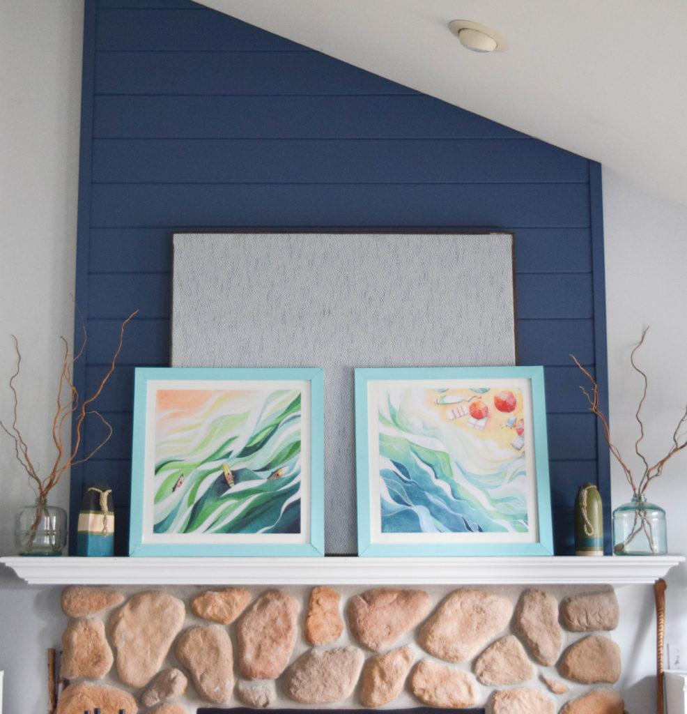 coastal style fireplace mantel decor