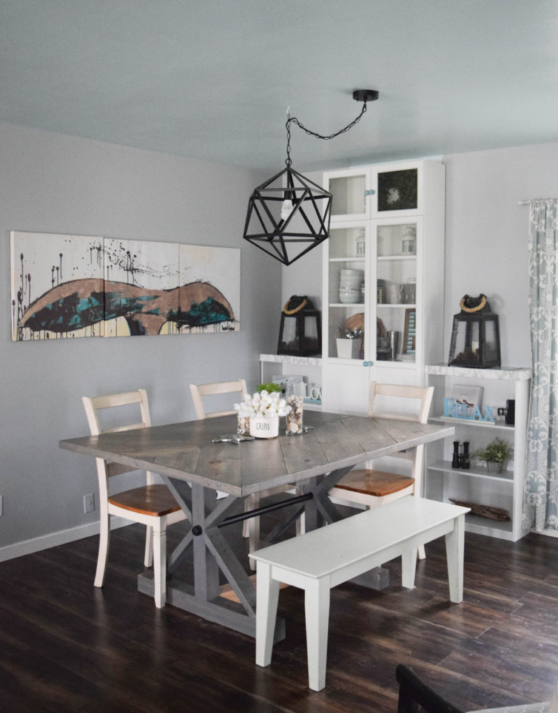dining room with coastal decorations