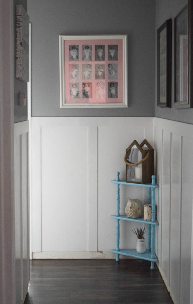 hallway with DIY wainscoting