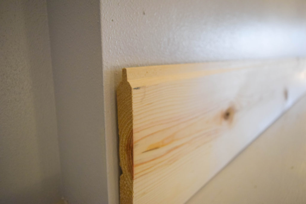 using beveled edge wood for shiplap project