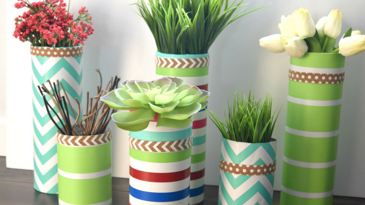 Simple vase update with wrapping paper