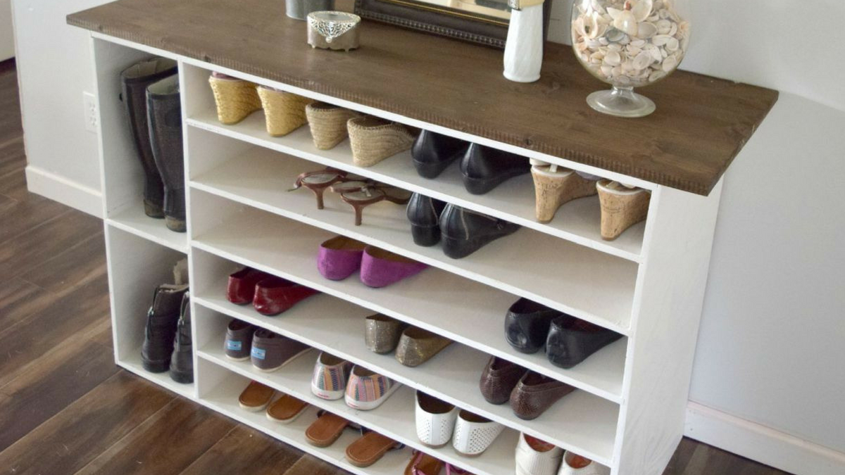 DIY shoe organizer made with plywood