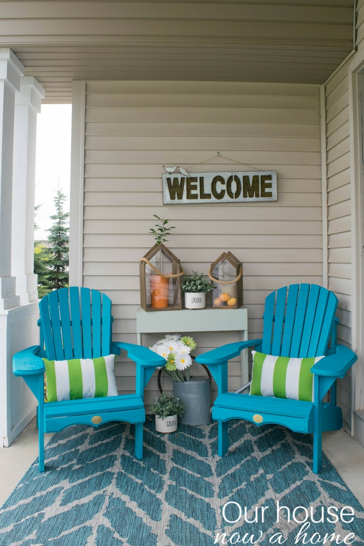 Front Porch Decorating Ideas With The Perfect Adirondack Chairs Our House Now A Home: Bold Color And Patterns For A Beautiful Front Porch. A Small Space Does Not Mean It Has To Be