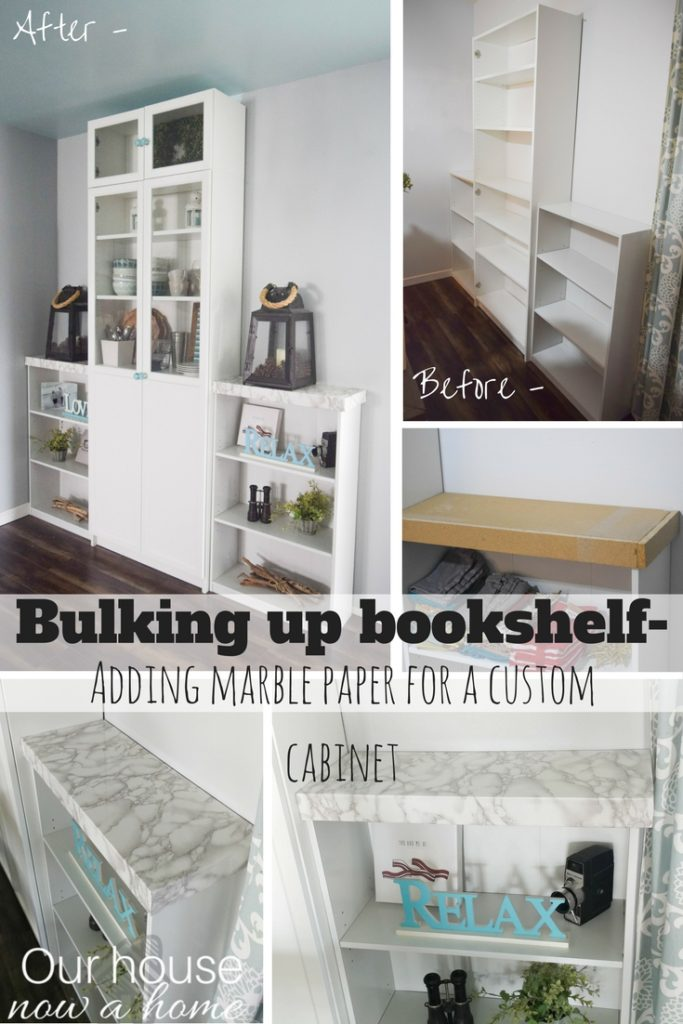 Bulking up bookshelf- how to customize store bought furniture. Adding marble and cabinet doors, perfect look for a dining room.