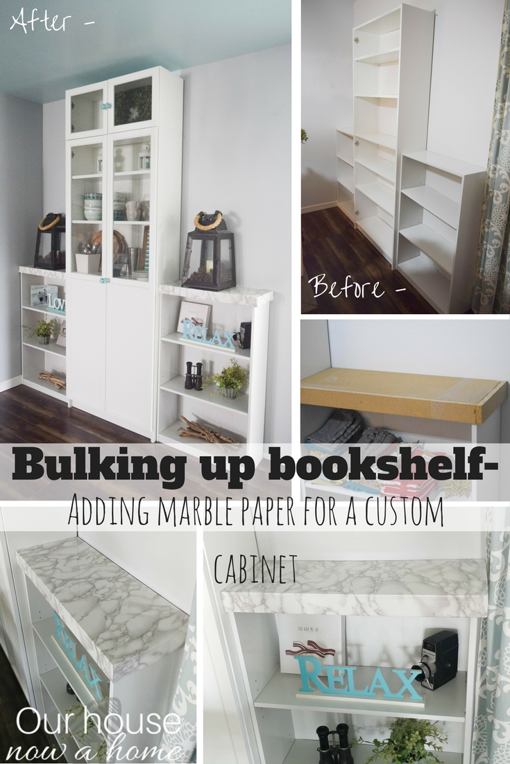 Bulking Up Bookshelf How To Customize Store Bought Furniture Adding Marble And Cabinet Doors Perfect Look For A Dining Room