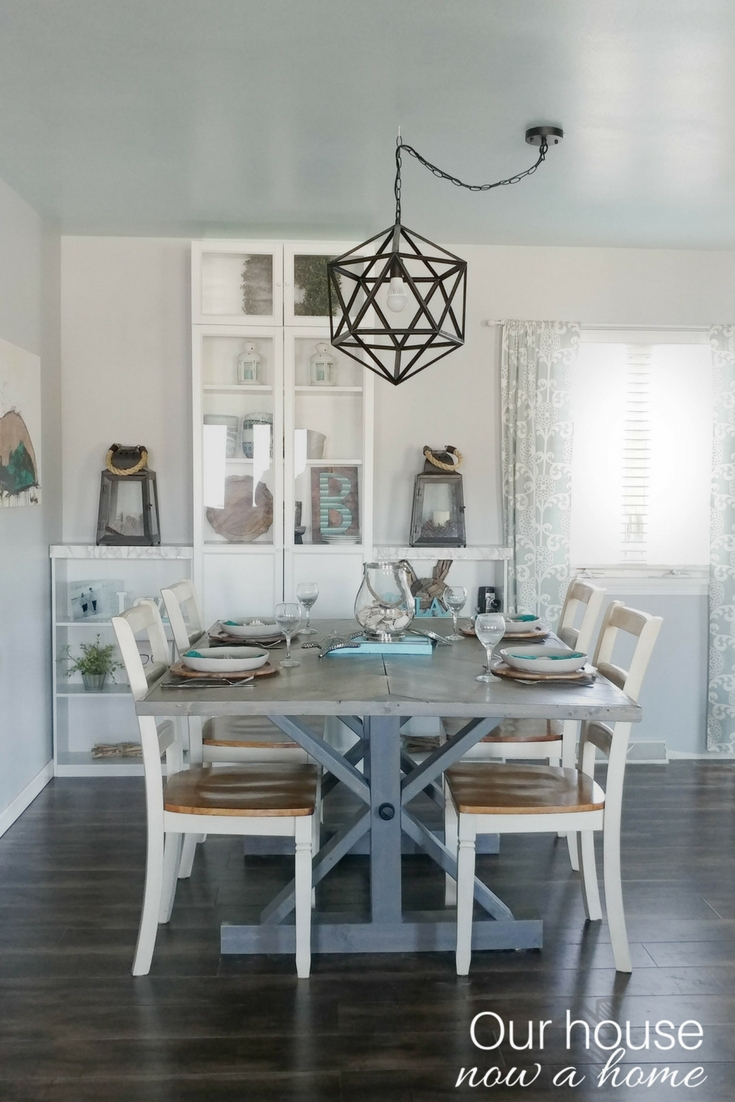 Simple coastal inspired tablescape our house now a home for Simple dining room decor ideas