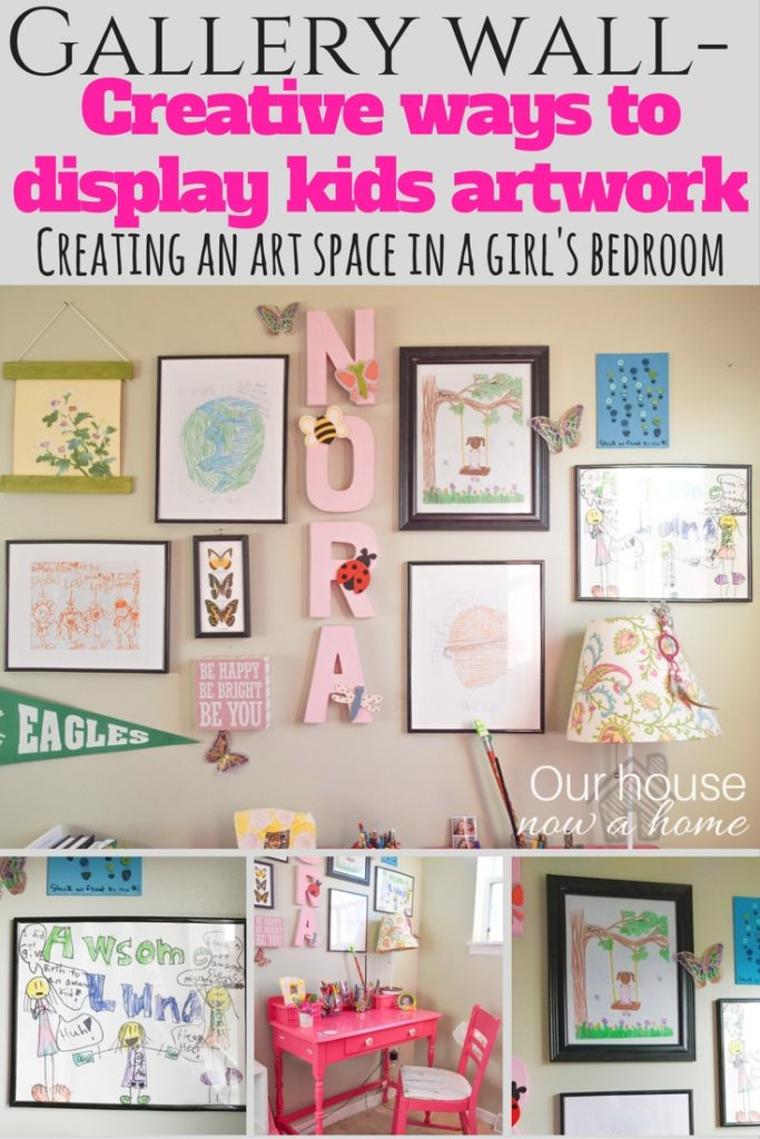 Gallery wall ideas for kid's bedroom. Creative ways to display art work.