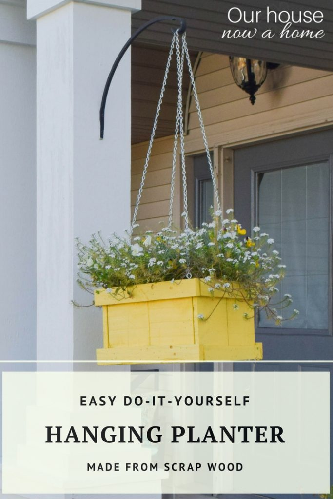 How to make this easy DIY hanging planter, made from scrap wood! Simple steps to use recycled wood, perfect for a porch or outdoor decor.