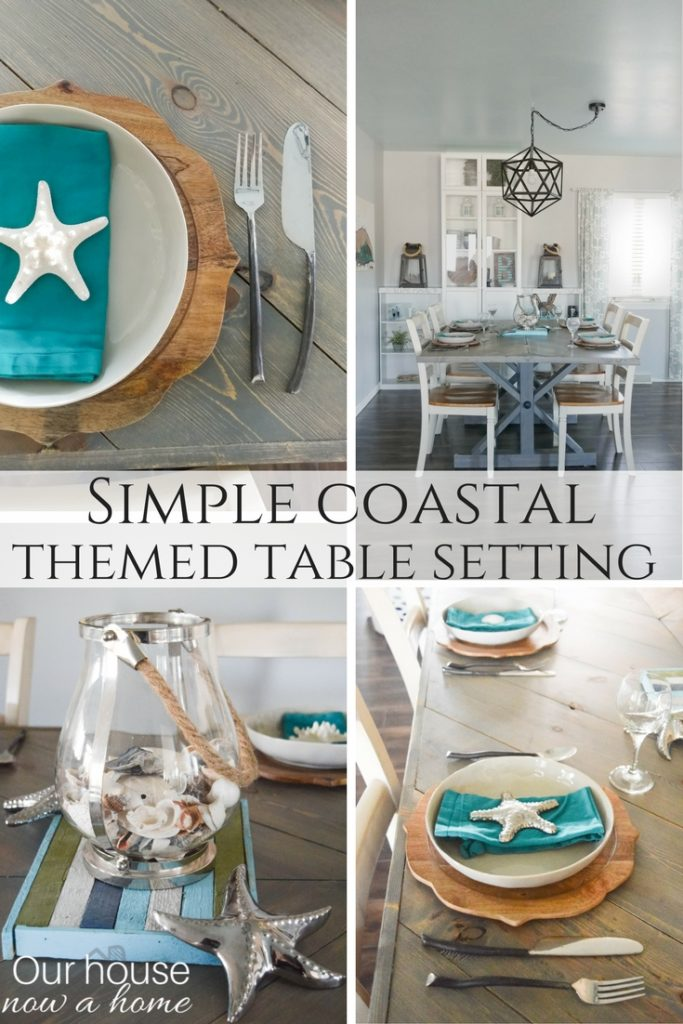 simple coastal inspired tablescape our house now a home. Black Bedroom Furniture Sets. Home Design Ideas