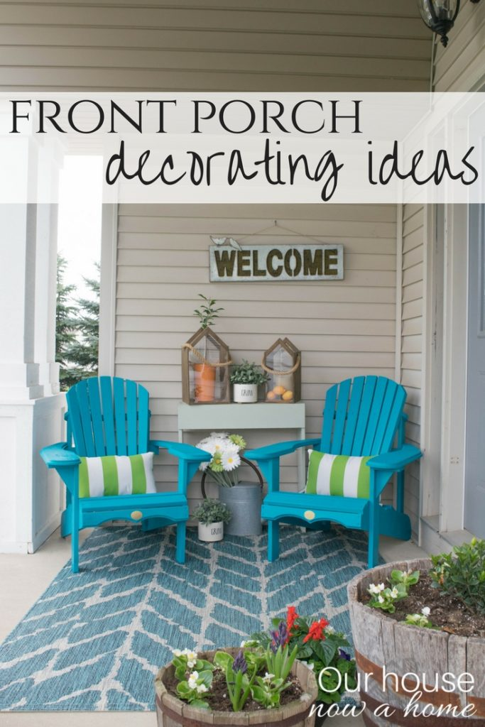 Spring-front-porch-decorating-ideas.-These-DIY-Adirondack-chairs-painted-a-bold-teal-add-the-perfect-pop-of-color-for-this-small-front-porch.