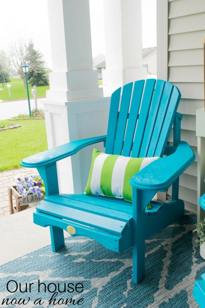 The Perfect Diy Wooden Adirondack Chair Painted A Bold Turquoise Color Great Addition