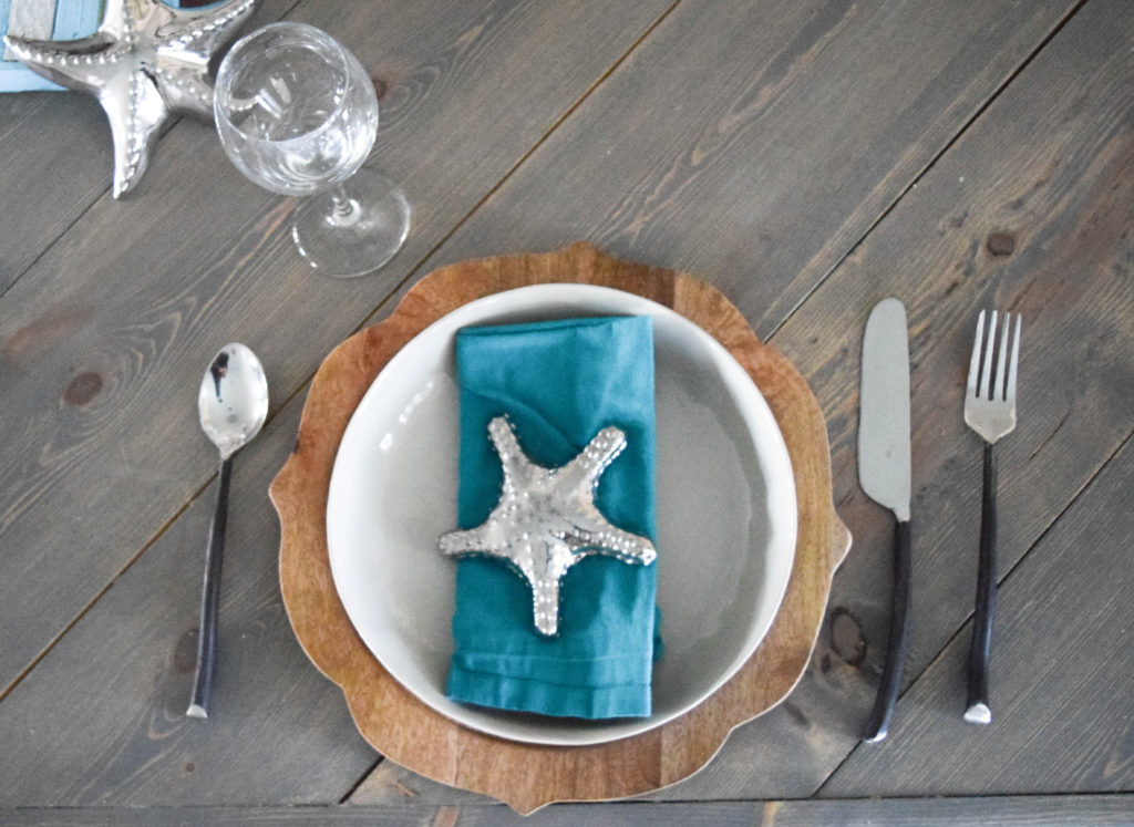 beach themed place settings